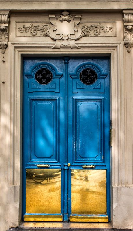 Paris Print  Blue Door Turquoise Paris House by GCFPhotography