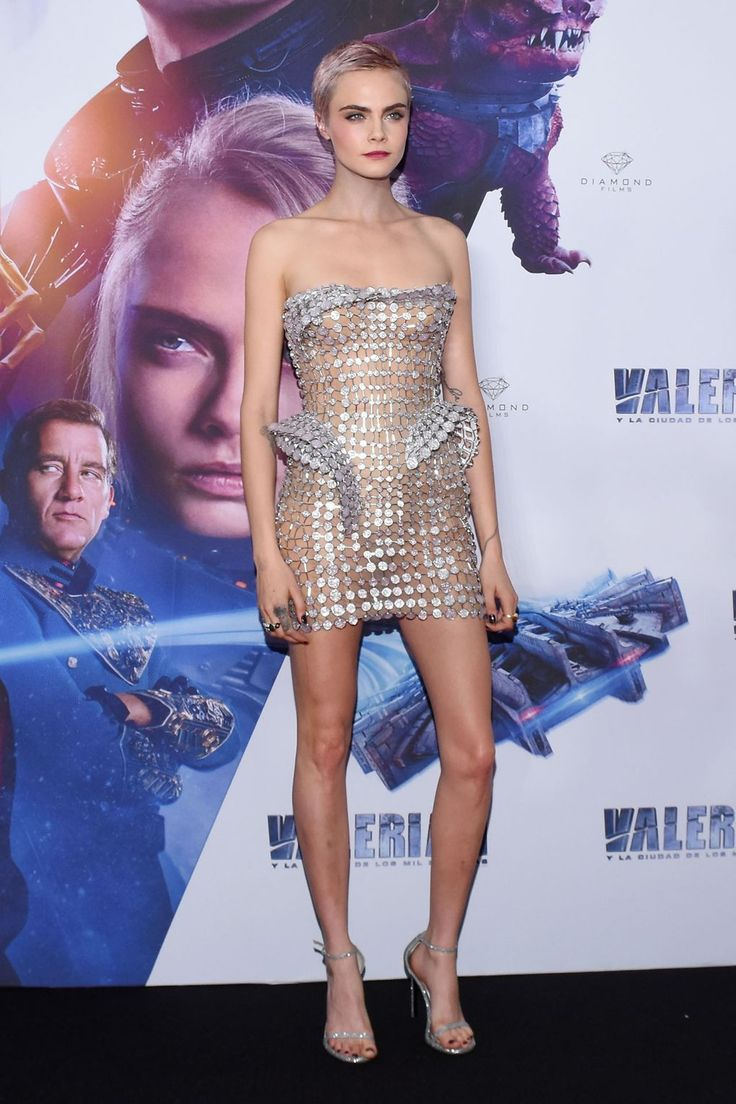"""On the promotional tour of [i]Valerian[/i], Cara wore a structured disc Atelier Versace minidress which was VERY sheer. It looks like the concealing was done with the help of a nude body suit and some carefully positioned [link url=""""http://www.glamourmagazine.co.uk/gallery/nipple-pasties""""]nipple pasties[/link]. Kudos to you, Cara."""