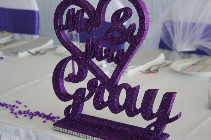 MR & MRS Sign in Cadbury Purple by PerfectlyPersonalise on Etsy