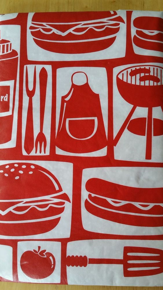 Amazing Picnic Tablecloth Cookout BBQ Vinyl Flannel Back Red White 60 Round Table  Cover