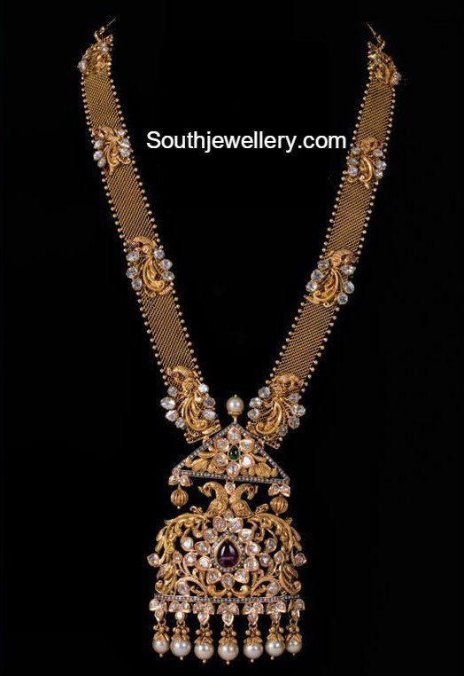 Antique Gold Long Chain with peacock Pendant photo