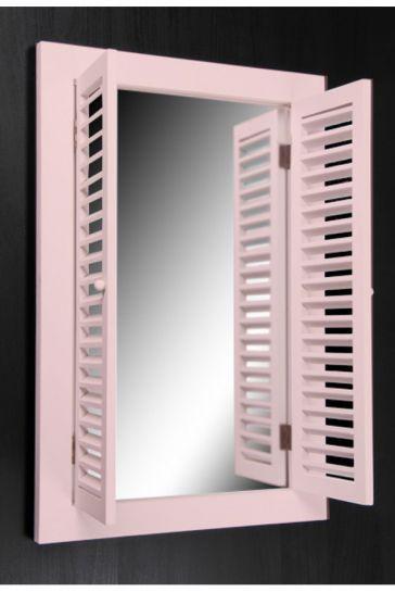 Loveq Ahşap Dekoratif Pencere Ayna Pembe