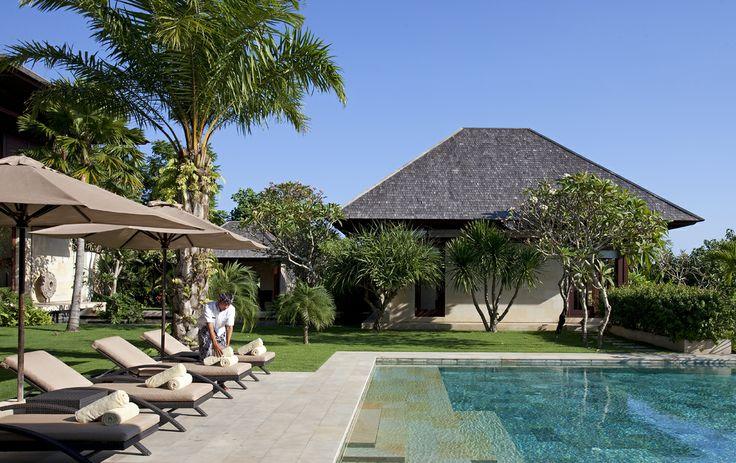Poolside at Bendega Nui Bali - http://prestigebalivillas.com/bali_villas/bendega_nui/23/service_facility/