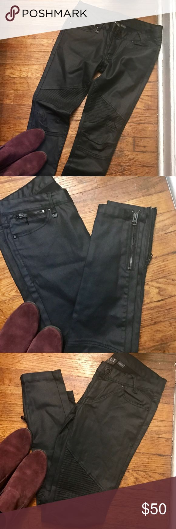 Armani Exchange coated black skinny jean! New Never Worn Armani Exchange coated black skinny jean with amazing ankle zippers! Detail at the knee that is amazing! Would look amazing with a white Tee and bib necklace !! Armani Exchange Jeans Skinny