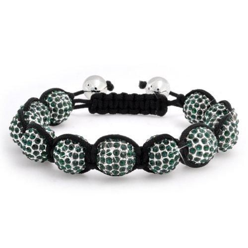 Bling Jewelry Unisex Green Crystal Shamballa Inspired Beads Bracelet 12mm
