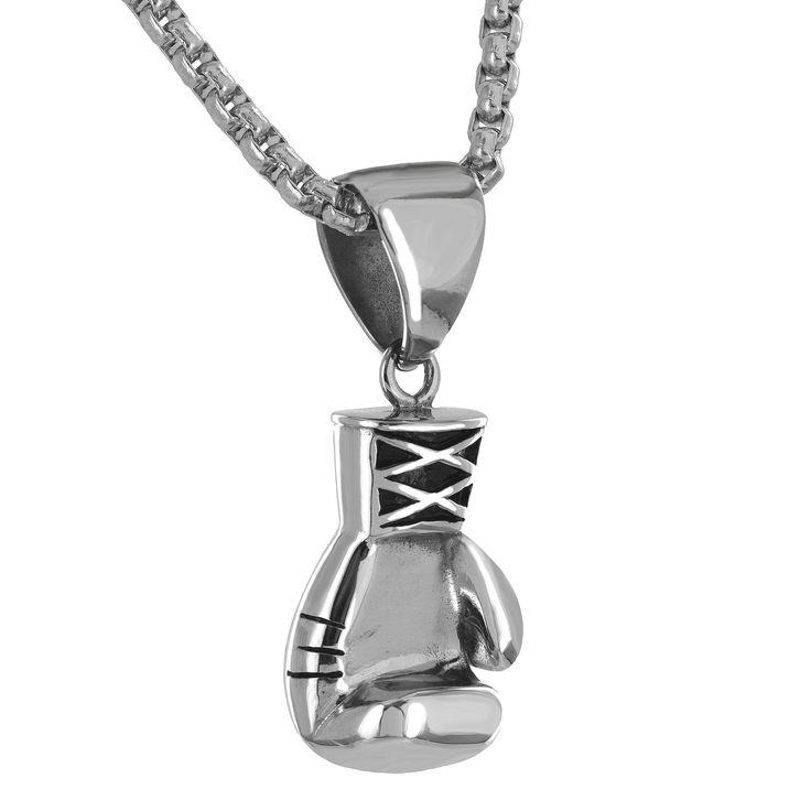 14K White Gold Finish Steel Boxing Glove Charm Chain