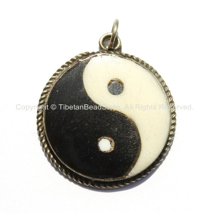 Tibetan Bone Yin Yang Charm Pendant - Handmade Ethnic Tribal Tibetan Jewelry - Black & White Bone Ying Yang Pendant - WM6045