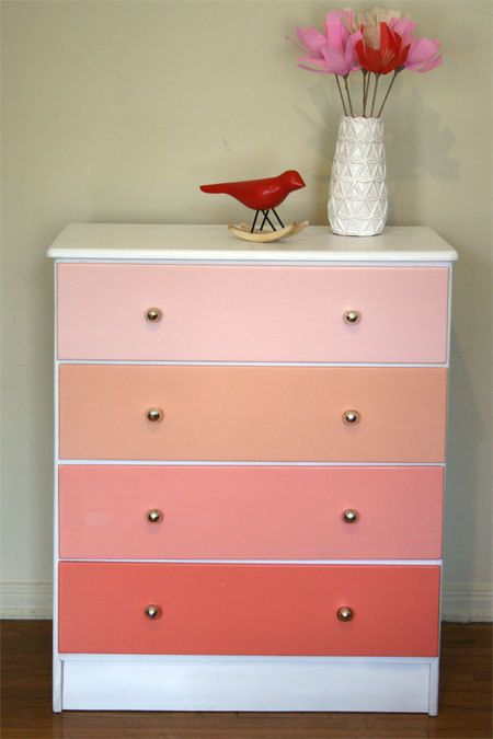 Coral Ombre Painted Wood Dresser. Pantone. Apricot. Beach House Sunset
