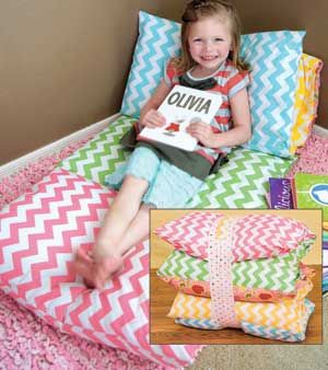 The Bundle Bed. So much fun for sleepovers! Easy to make and oh so comfy!