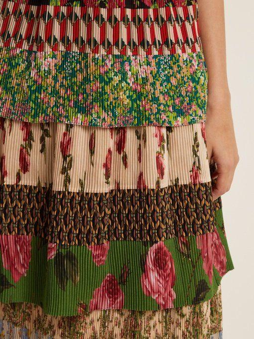 Gucci Tiered patchwork-print silk-plissé midi skirt