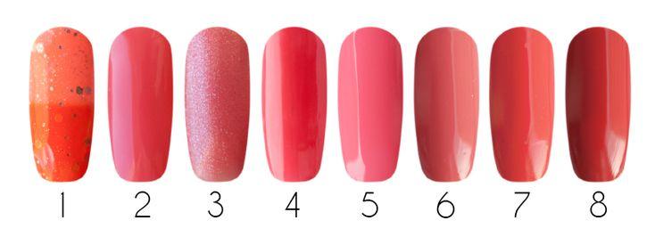 Coral Гель-лаки: 1- Bluesky Shellac, термо гель-лак (TC27), 10 мл 2- Bluesky one step gel, однофазный гель-лак (Откровение 053), 10 мл 3- Bluesky one step gel, однофазный гель-лак (Восторг 064), 10 мл 4- CND Shellac, гель-лак (Tropix #005), 7,3 мл 5- Entity One Color Couture, гель-лак (Pretty Precious Peonies #6844), 15 мл 6- IBD Just Gel Polish, гелевый лак (Serene Slumber #19400/180), 14 мл  Лаки для ногтей: 7- Milv, лак для ногтей (#67), 16 мл 8- Milv, лак для ногтей (#31), 16 мл