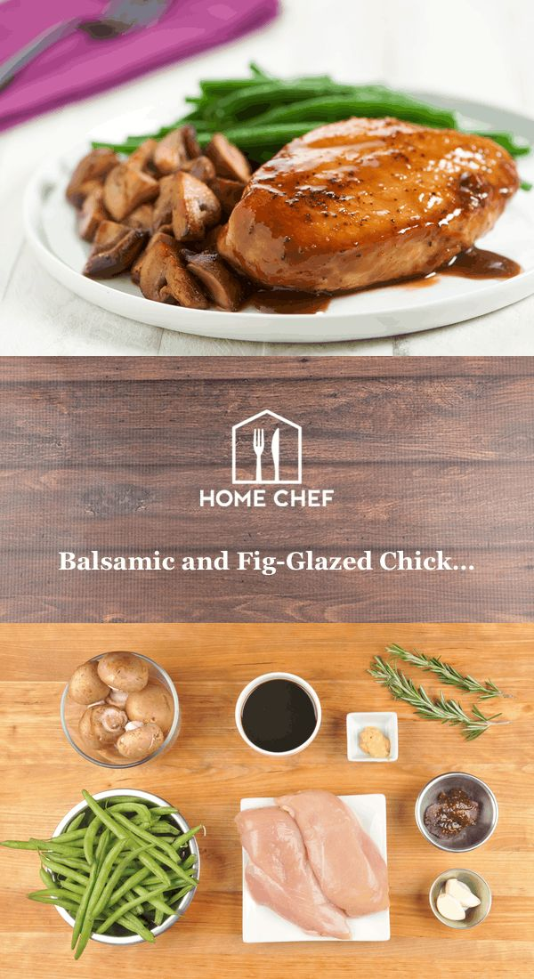 """Balsamico, where the word """"balsamic"""" comes from, means """"balsam-like,"""" curative or restorative. This meal provides curative powers galore; see the """"Did You Know"""" for all the magic rosemary can do. (Not that you need to be cured; you look great to us!) Chicken breasts are glazed in a mix of balsamic vinegar, Dijon, and fig preserves, bringing out that perfect mix of sweet, sharp, and salty. Rosemary-roasted mushrooms and green beans pair perfectly with the chicken and sauce, making for a dish…"""