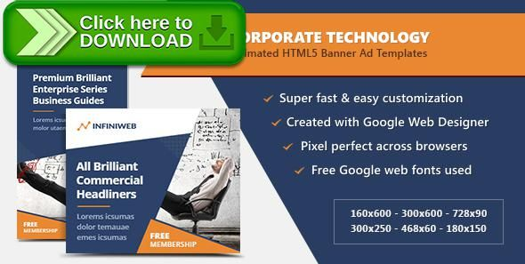 [ThemeForest]Free nulled download Corporate Technology Banners - HTML5 Ad Templates from http://zippyfile.download/f.php?id=41034 Tags: ecommerce, ads, advertising, adwords, animated, banner designs, banners, business, corporate, doubleclick, finance, google web designer, html5, technology, templates, web banners