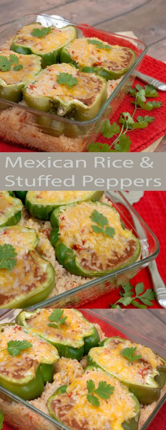 Mexican Rice Stuffed Peppers with a twist. These peppers will fill you up. For a vegetarian option, substitute chicken broth. Easy peasy.