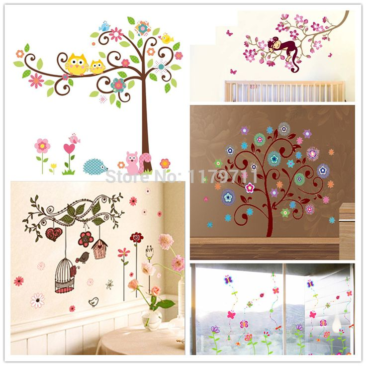 Cheap flower wall sticker, Buy Quality wall stickers children directly from China wall sticker Suppliers: Trees flowers wall sticker child  role of children's diy adhesive art mural poster picture removable wallpaper baby room