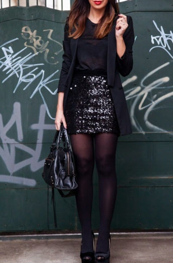 I like the unexpected sequins. Would be cute dressed down too.: