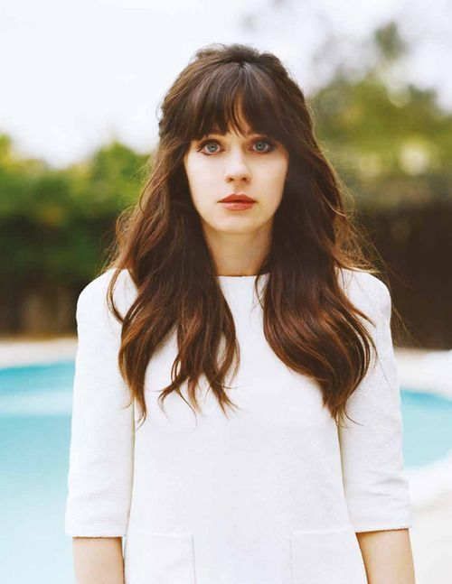 Zooey Deschanel | celebrities, actress, model, bangs, hairstyle, makeup, lipstick, fashion, new girl, tv show, silly, cute, music