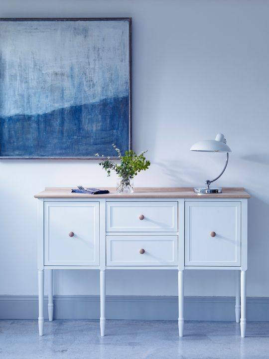 Traditional painted furniture but without the shabby-chic look. The result is this beautiful arts and crafts inspired sideboard made from aged limed oak and finished in a contemporary palette. #HealsAW15