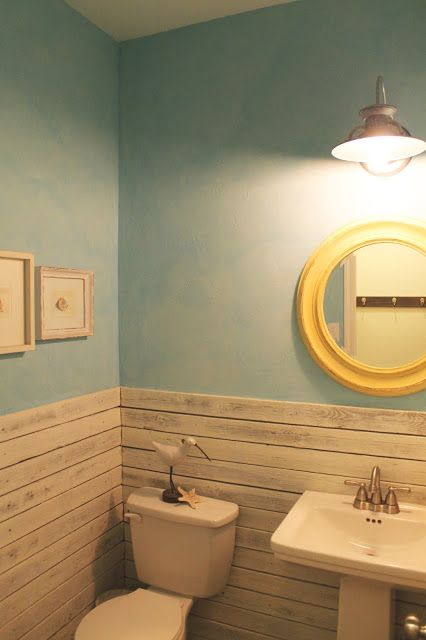Powder bathroom makeover, beach themed, reclaimed wood wall, blue plaster faux finish, The ragged wren