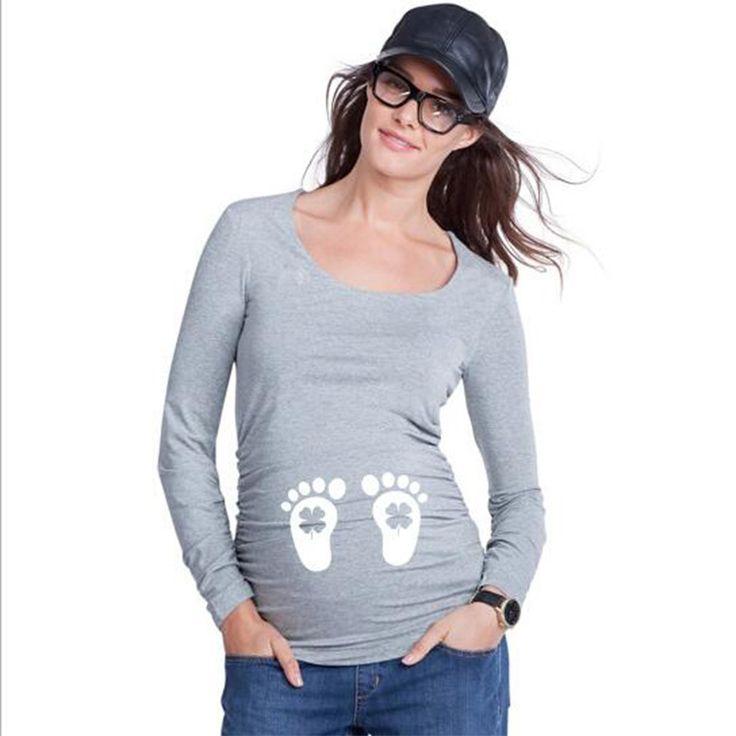 Aliexpress.com: Comprar Tapas de la manera para las mujeres embarazadas de maternidad de algodón de manga larga tops con huella de impresión primavera tees camisetas divertidas de embarazo de maternity evening dresses formal gowns fiable proveedores en Delicate small store