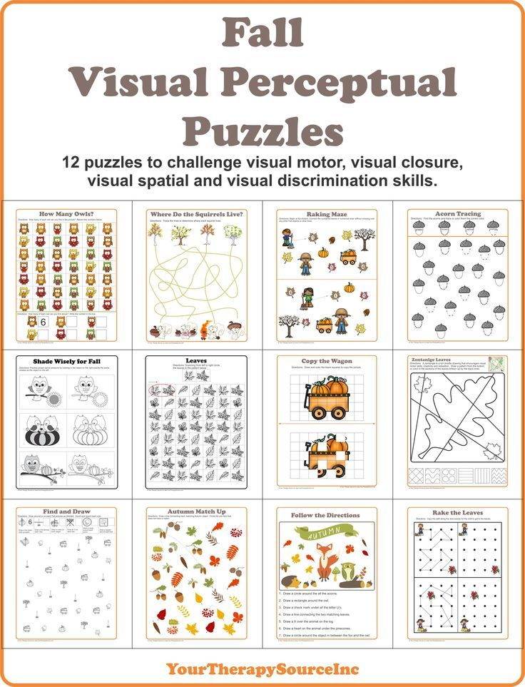 Fall Visual Perceptual Puzzles to challenge visual motor, visual spatial, visual discrimination and motor planning skills.