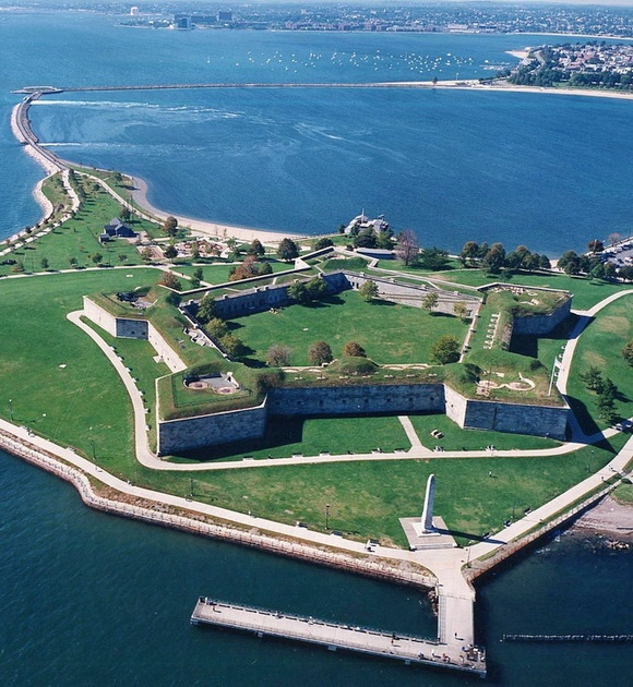Fort Independence is a granite star fort that provided harbor defenses for Boston, Massachusetts. Located on Castle Island, Fort Independence is the oldest continuously fortified site of English origin in the United States. The existing granite fort was constructed between 1833 and 1851. Today it is preserved as a state park and fires occasional ceremonial salutes. Fort Independence was added to the National Register of Historical Places in 1970.