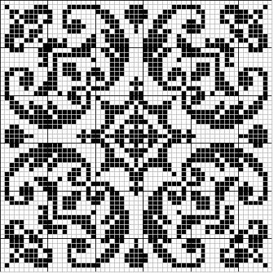 Square 02 | Free chart for cross-stitch, filet crochet | gancedo.eu