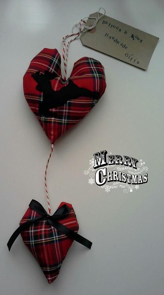 Christmas tartan fabric double heart. http://www.facebook.com/buttonsandbowshandmadegifts