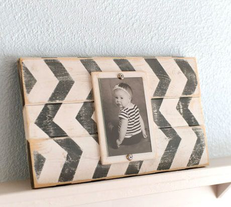 Wood Plank Chevron Picture Frame - 4x6, $18.99