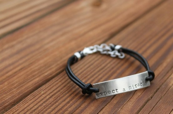 Expect A Miracle hand stamped bracelet in silver. Made by my friend in support of her sister who has been recently diagnosed with breast cancer...