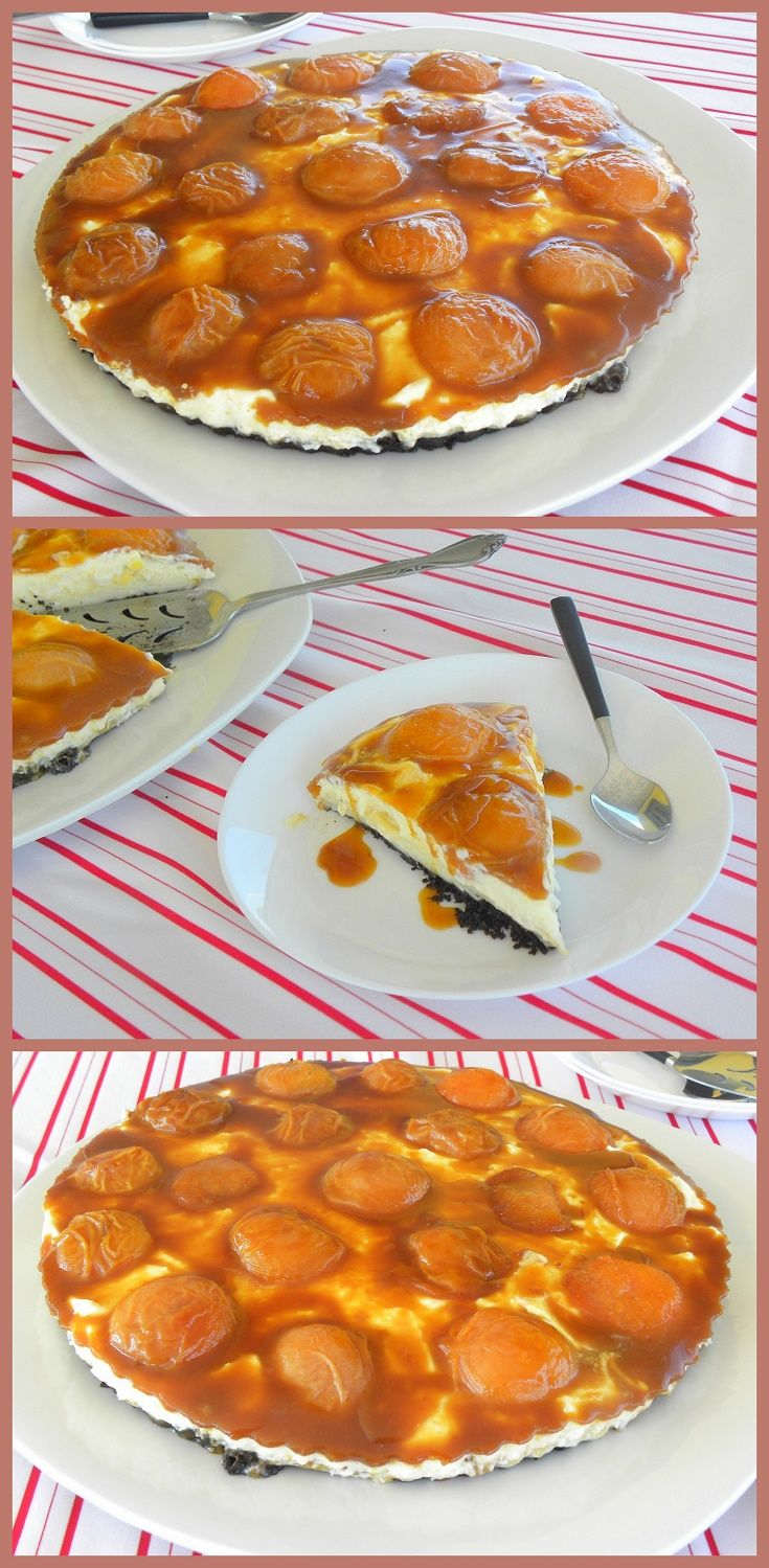 This Apricot Salted Caramel Oreo Tart is made with a crust of thin Oreo biscuits as its base, then a pastry cream is added on top, followed by a thin layer of salted caramel, then a mousse, made with lemon flavoured French buttercream (pâte à bombe), combined with whipped cream and topped with the apricots and the salted caramel.