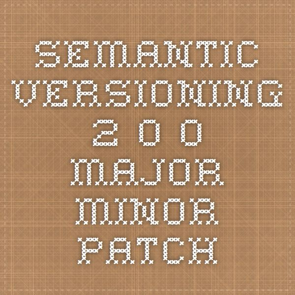 Semantic Versioning 2.0.0 - Major.Minor.Patch