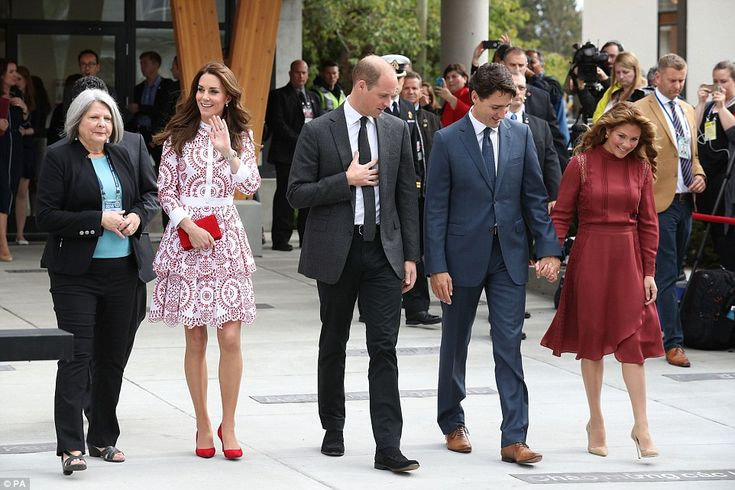 The Duchess of Cambridge waved to supporters who had lined the path on the way out from th...