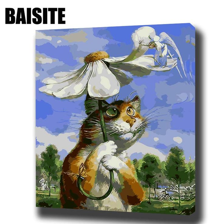 BAISITE DIY Framed Oil Painting By Numbers Animal Pictures Canvas Painting For Living Room Wall Art Home Decor E739