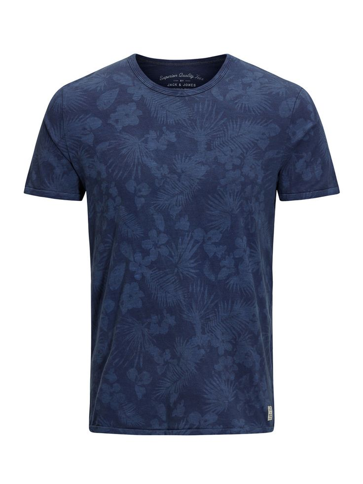 Blue t-shirt with floral print, comfortable and cool for the warmer seasons | JACK & JONES
