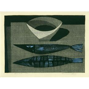 "Antique Japanese woodblock print by Tamami Shima ""Still Life with Fish"" 1960."