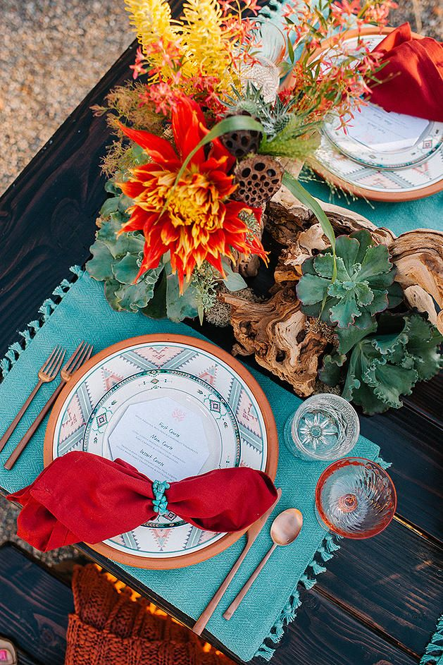 Wedding Table Decor Ideas with Rustic Red / Orange, Turquoise, Southwestern Patterns and Blush Glassware | Always Flawless Productions | San Diego's Best Wedding Planner | Desert Wedding Inspiration