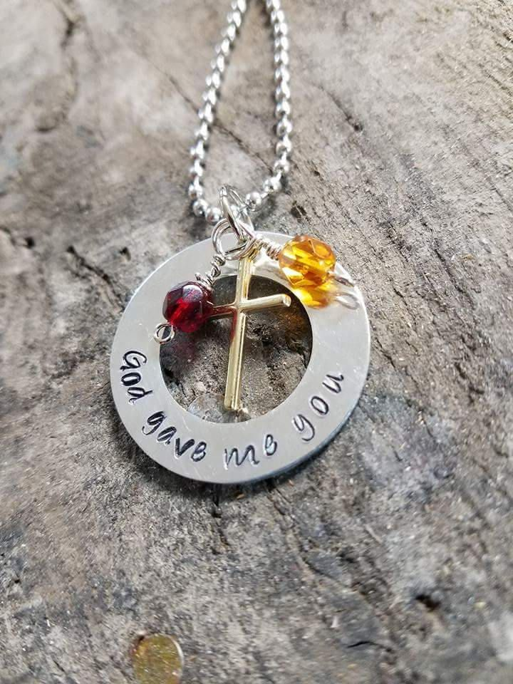 God gave me you, birthstone necklace, blessings from above , religious pendant, religious jewelry, grace necklace, faithful jewelry, by Boymomof2Crafts on Etsy