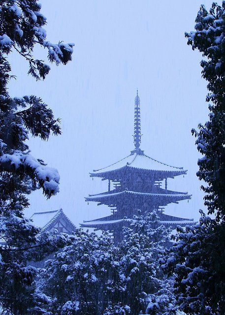 the World Heritage, Horyu-ji Temple in snow, Nara, Japan: The temple's pagoda is widely acknowledged to be one of the oldest wooden buildings existing in the world,