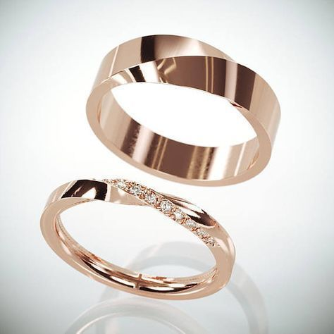 ✿ THE JEWELS Handmade solid 14k rose gold his and hers mobius wedding rings se…