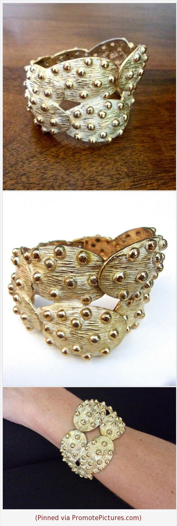 Gold Tone Bracelet Hinged Cuff, Prickly Pear Cactus Tortolani Style, Vintage, #bracelet #pricklypear #cactus #goldtone #whiteenamel #textured #vintage #tortolani #hinged https://www.etsy.com/RenaissanceFair/listing/542776828/gold-tone-bracelet-hinged-cuff-prickly?ref=listings_manager_grid  (Pinned using https://PromotePictures.com)