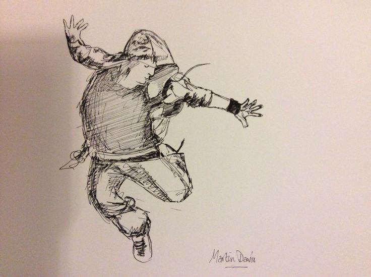 Street dancer pen and ink