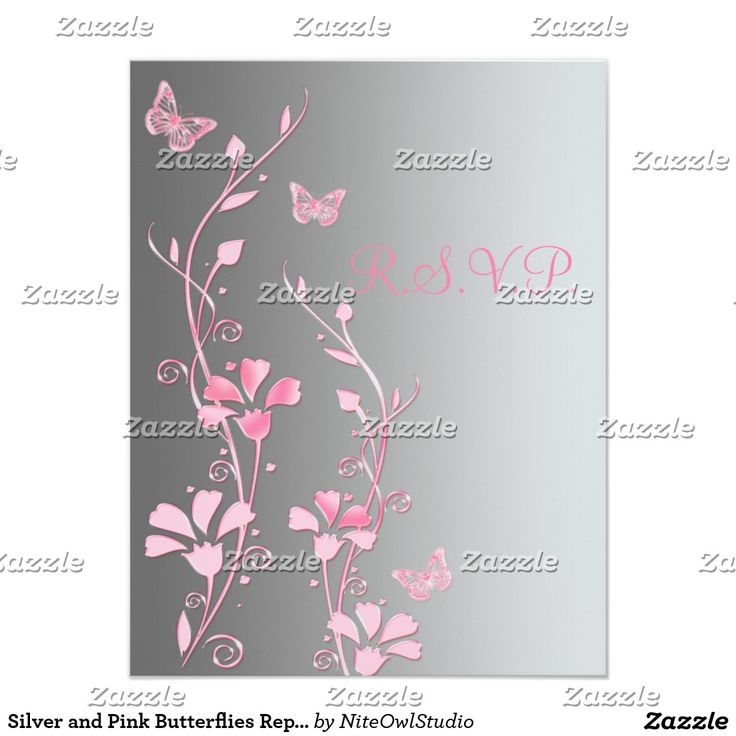 Silver and Pink Butterflies Reply Card