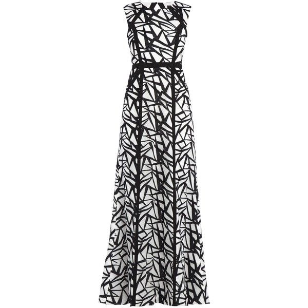 Bcbg Maxazria Daniela Round Neck Sleeveless Dress Gown (€300) ❤ liked on Polyvore featuring dresses, gowns, a line dress, embroidered gown, open back evening gowns, zip back dress and open back gown