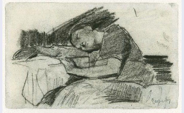 George Hendrik Breitner. Afbeelding Slapend meisje aan tafel, ongedateerd.