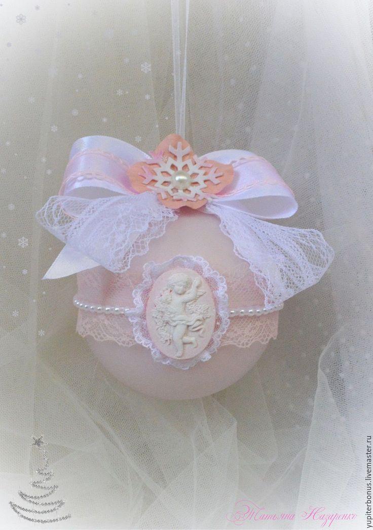 """Купить Набор новогодних шаров """"Рождество"""" - бледно-розовый, персиковый, шар на елку, шар новогодний"""