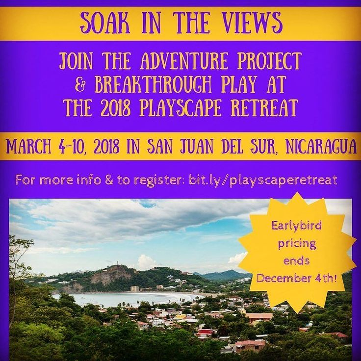 Join @breakthroughplay  I in San Juan del Sur for a playful adventure that highlights play connection and the magic of Nicaraguan culture! Act fast - early bird pricing ends tomorrow! http://ift.tt/2dt42f0 . . . #improv #play #retreat #laughteryoga #laughter #yoga #connections #ecotourism #sustainabletravel #responsibletourism #travel #sanjuandelsur #nicaragua #webeforeme #nature #personaldevelopment #yesand #improvadventure #adventure #findyouradventure