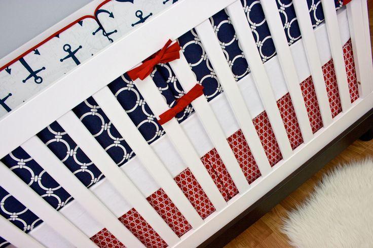 Baby Nursery Crib Bedding, Navy Red Nautical, Anchors Away   Modified Tot