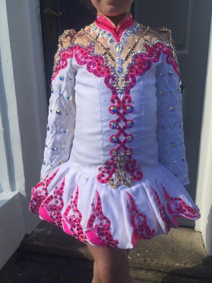 Exquisite White Gavin Doherty Irish Dance Dress Solo Costume For Sale
