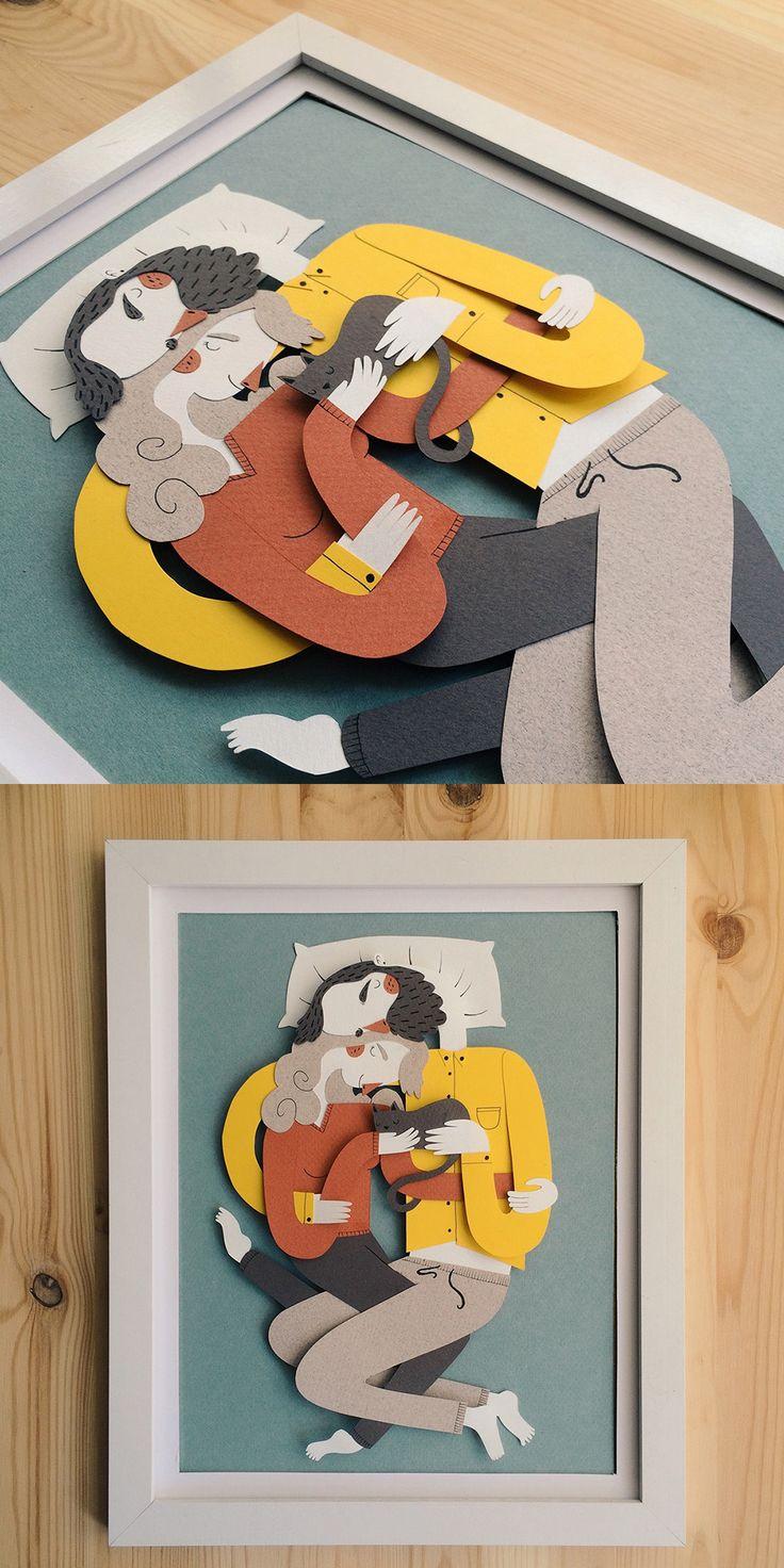 La Siesta - Papercraft couple napping with cat by Jotaká